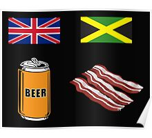 "English ""Beer-Can"" = Jamaican ""Bacon"" Poster"