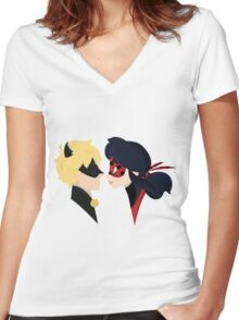 The Cat and The Bug Women's Fitted V-Neck T-Shirt