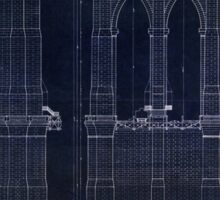 Antique Blueprint of the Brooklyn Bridge, East River Bridge Sticker