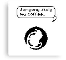 Someone Stole My Coffee Pixel Art Illustration Canvas Print