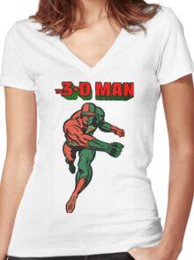 3-D Man Women's Fitted V-Neck T-Shirt