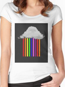 Falling Rainbows - Abstract Cloud and rain Women's Fitted Scoop T-Shirt