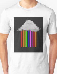 Falling Rainbows - Abstract Cloud and rain T-Shirt