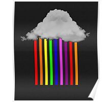 Falling Rainbows - Abstract Cloud and rain Poster