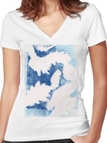 Blue Warmth Women's Fitted V-Neck T-Shirt