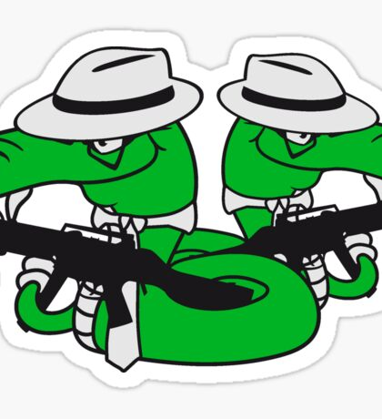 2 gangster team buddies crew mafia violence weapon machine gun rattlesnake poisonous evil dangerous comic cartoon snake Sticker