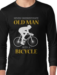 Old man with bicycle Long Sleeve T-Shirt