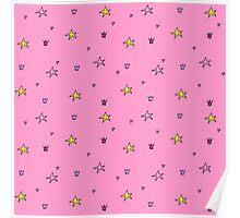 Stars pattern pink Poster