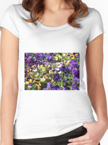 Cheerful Pansies Women's Fitted Scoop T-Shirt