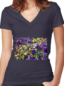 Cheerful Pansies Women's Fitted V-Neck T-Shirt
