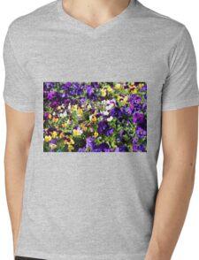 Cheerful Pansies Mens V-Neck T-Shirt