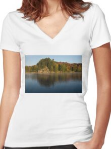 Bright and Sunny Fall Reflections Women's Fitted V-Neck T-Shirt