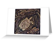 Turtle Bas Relief Gold Greeting Card