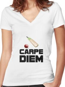 Carpe Diem Cricket Women's Fitted V-Neck T-Shirt
