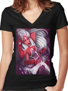 Fire Opal  Women's Fitted V-Neck T-Shirt