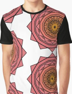 Sunny Kaleidoscope in Pink and Yellow Graphic T-Shirt