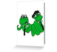 2 brothers buddies team crew glasses snakes bookworm nerd geek ties hornbrille smart funny cool comic cartoon Greeting Card