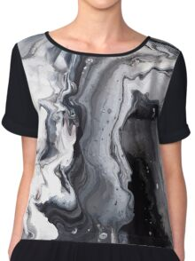 Marble Design Black and White Chiffon Top