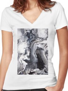 Marble Design Black and White Women's Fitted V-Neck T-Shirt
