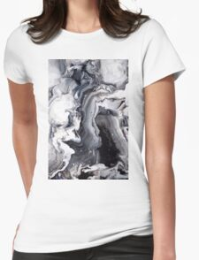 Marble Design Black and White Womens Fitted T-Shirt