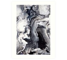 Marble Design Black and White Art Print