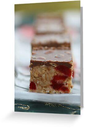 Cherry & Toasted Almond Slice. by Joy Watson