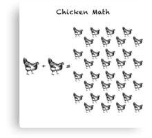 Chicken Math (Square) Woodcut Canvas Print