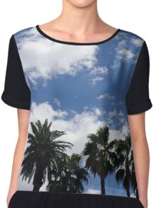 Palm Trees and Puffy Clouds Chiffon Top