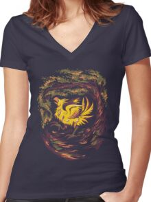 Chocobo with Blossoms Women's Fitted V-Neck T-Shirt