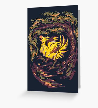 Chocobo with Blossoms Greeting Card