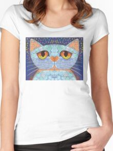 WORRIED THE CAT Women's Fitted Scoop T-Shirt