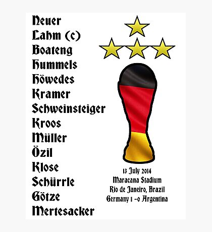 Germany 2014 World Cup Final Winners Photographic Print