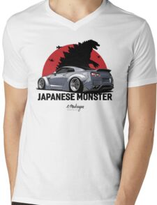 Nissan GTR. Japanese Monster (grey) Mens V-Neck T-Shirt