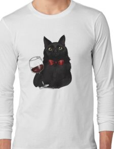 Wine Cat Long Sleeve T-Shirt