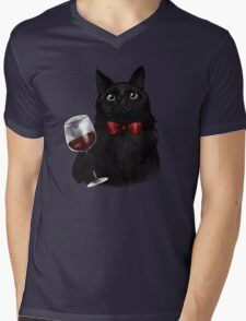 Wine Cat Mens V-Neck T-Shirt