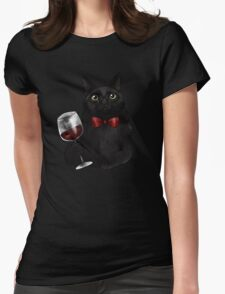 Wine Cat Womens Fitted T-Shirt