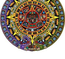 Aztec Calendar Sun Stone - Full Color by Ninjangulo