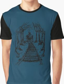 Wooden Railway , Pencil illustration railroad train tracks in woods, Black & White drawing Landscape Nature Surreal Scene Graphic T-Shirt
