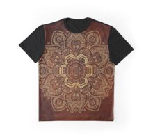 Gold Flower on Royal Red Textured Background, #redbubble, #design, #pattern Graphic T-Shirt