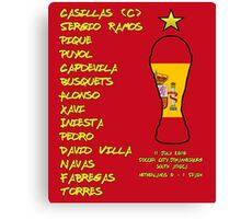 Spain 2010 World Cup Final Winners Canvas Print