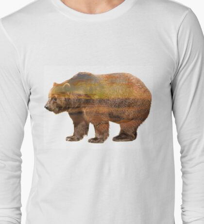 Sundown Bear Double Exposure Long Sleeve T-Shirt