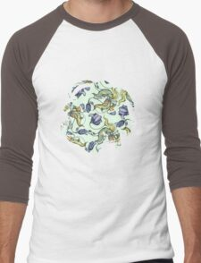 vintage floral pattern watercolor drawing Men's Baseball ¾ T-Shirt