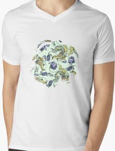 vintage floral pattern watercolor drawing Mens V-Neck T-Shirt
