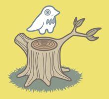 ghost bird and tree trunk Kids Tee