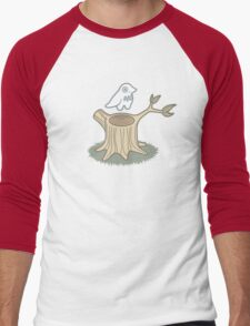 ghost bird and tree trunk Men's Baseball ¾ T-Shirt
