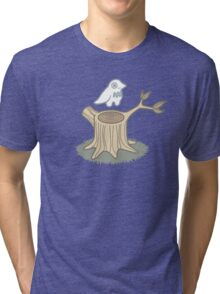 ghost bird and tree trunk Tri-blend T-Shirt
