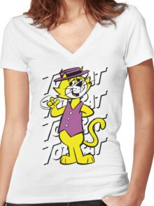 Top The Cat Women's Fitted V-Neck T-Shirt
