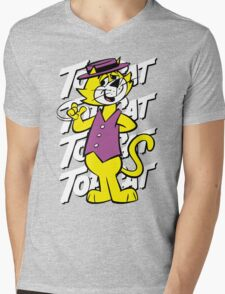 Top The Cat Mens V-Neck T-Shirt