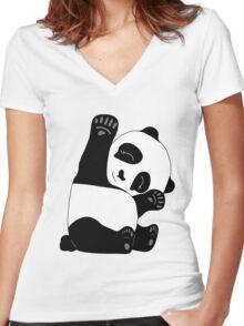 Waving Panda Women's Fitted V-Neck T-Shirt