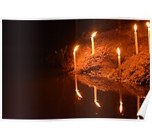 Candles on the edge of the river Poster
